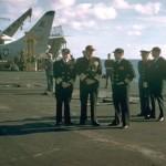 CNO Admiral Burke on Flight Deck. 1957