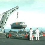 Captains Gig being lowered. 1957