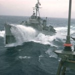 USS Sigourney DD-643 refeuling alongside 1957